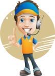 Charming Courier Guy Cartoon Vector Character AKA Tony On-track - Shape 7