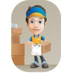 Charming Courier Guy Cartoon Vector Character AKA Tony On-track - Shape 9