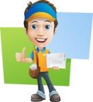 Charming Courier Guy Cartoon Vector Character AKA Tony On-track - Shape 10