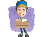 Charming Courier Guy Cartoon Vector Character AKA Tony On-track - Shape 12