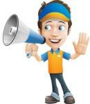 Charming Courier Guy Cartoon Vector Character AKA Tony On-track - Loudspeaker