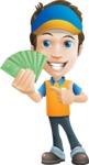 Charming Courier Guy Cartoon Vector Character AKA Tony On-track - Show me the Money