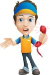 Charming Courier Guy Cartoon Vector Character AKA Tony On-track - Support 3