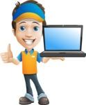 Charming Courier Guy Cartoon Vector Character AKA Tony On-track - Laptop 2