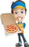 Charming Courier Guy Cartoon Vector Character AKA Tony On-track - Pizza
