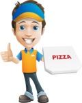 Charming Courier Guy Cartoon Vector Character AKA Tony On-track - Pizza 3