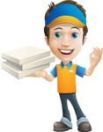 Charming Courier Guy Cartoon Vector Character AKA Tony On-track - Pizza 4