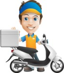 Charming Courier Guy Cartoon Vector Character AKA Tony On-track - Scooter