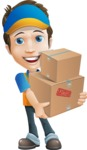 Charming Courier Guy Cartoon Vector Character AKA Tony On-track - Box Delivery 2