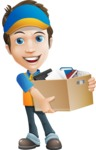 Charming Courier Guy Cartoon Vector Character AKA Tony On-track - Box Delivery 4
