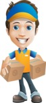Charming Courier Guy Cartoon Vector Character AKA Tony On-track - Box Delivery 9