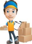 Charming Courier Guy Cartoon Vector Character AKA Tony On-track - Box Delivery 10