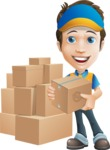 Charming Courier Guy Cartoon Vector Character AKA Tony On-track - Box Delivery 11