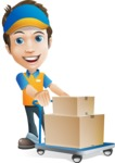 Charming Courier Guy Cartoon Vector Character AKA Tony On-track - Box Delivery 13