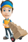Charming Courier Guy Cartoon Vector Character AKA Tony On-track - Box Delivery 14