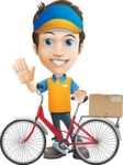 Charming Courier Guy Cartoon Vector Character AKA Tony On-track - Bike Delivery