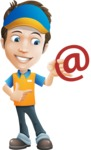Charming Courier Guy Cartoon Vector Character AKA Tony On-track - Email