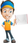 Charming Courier Guy Cartoon Vector Character AKA Tony On-track - Letter 2