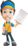 Charming Courier Guy Cartoon Vector Character AKA Tony On-track - Letter 3