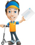 Charming Courier Guy Cartoon Vector Character AKA Tony On-track - Letter 6