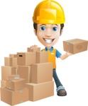Charming Courier Guy Cartoon Vector Character AKA Tony On-track - Construction