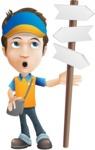 Charming Courier Guy Cartoon Vector Character AKA Tony On-track - Crossroad
