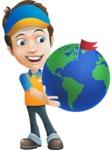 Charming Courier Guy Cartoon Vector Character AKA Tony On-track - Earth