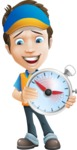 Charming Courier Guy Cartoon Vector Character AKA Tony On-track - On Time