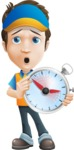 Charming Courier Guy Cartoon Vector Character AKA Tony On-track - Late
