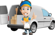Charming Courier Guy Cartoon Vector Character AKA Tony On-track - Delivery Car