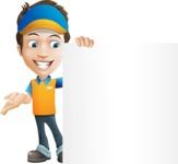 Charming Courier Guy Cartoon Vector Character AKA Tony On-track - Sign 8