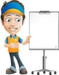 Charming Courier Guy Cartoon Vector Character AKA Tony On-track - Presentation 2