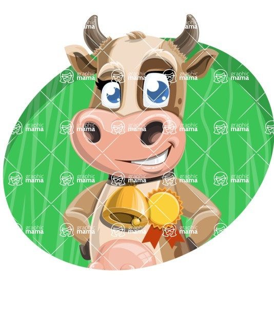 Young Cow Cartoon Vector Character AKA Colleen the Gentle Cow - Shape 4