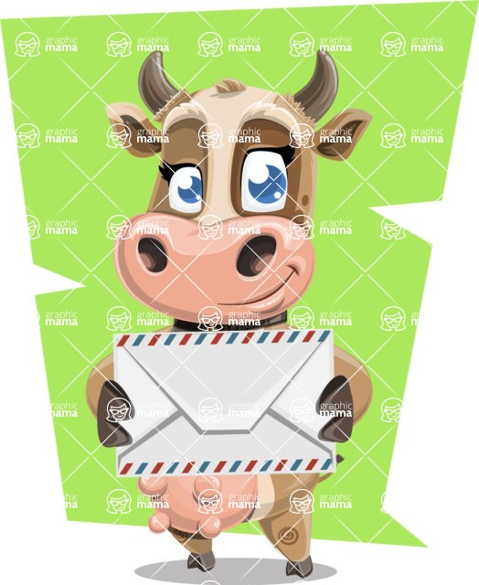 Young Cow Cartoon Vector Character AKA Colleen the Gentle Cow - Shape 10