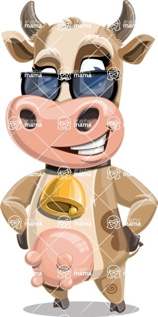 Young Cow Cartoon Vector Character AKA Colleen the Gentle Cow - Sunglasses