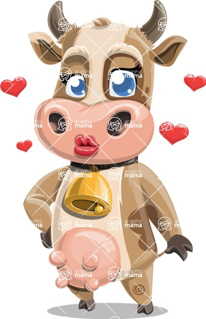 Young Cow Cartoon Vector Character AKA Colleen the Gentle Cow - Show Love