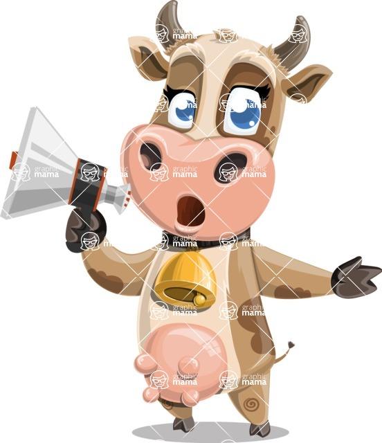 Young Cow Cartoon Vector Character AKA Colleen the Gentle Cow - Loudspeaker