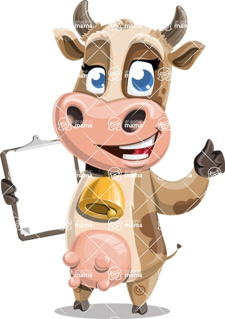 Young Cow Cartoon Vector Character AKA Colleen the Gentle Cow - Notepad 1