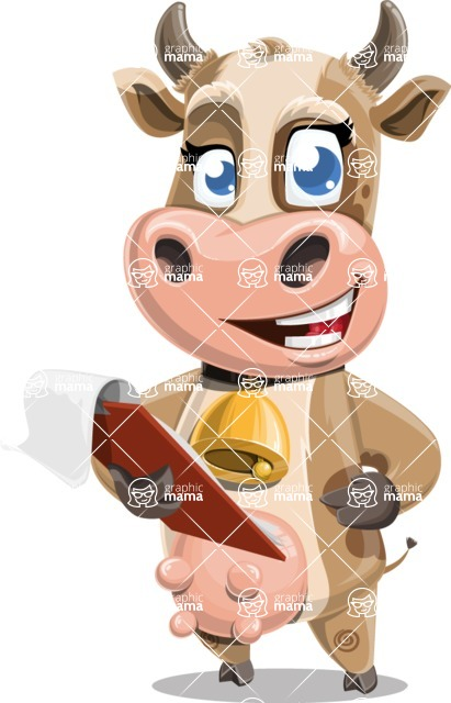Young Cow Cartoon Vector Character AKA Colleen the Gentle Cow - Notepad 3