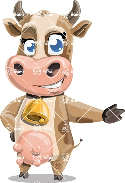 Young Cow Cartoon Vector Character AKA Colleen the Gentle Cow - Show