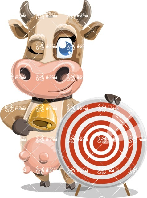 Young Cow Cartoon Vector Character AKA Colleen the Gentle Cow - Target