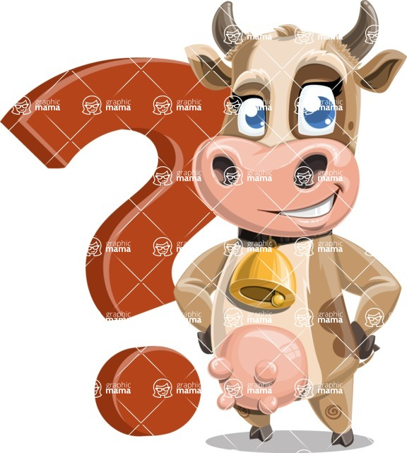 Young Cow Cartoon Vector Character AKA Colleen the Gentle Cow - Question