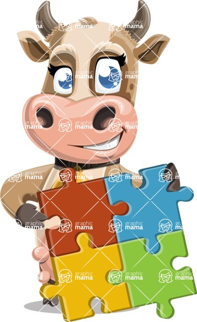 Young Cow Cartoon Vector Character AKA Colleen the Gentle Cow - Puzzle