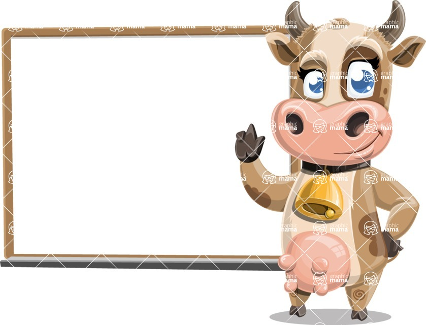 Young Cow Cartoon Vector Character AKA Colleen the Gentle Cow - Presentation 3