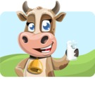 Young Cow Cartoon Vector Character AKA Colleen the Gentle Cow - Shape 1