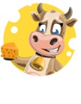 Young Cow Cartoon Vector Character AKA Colleen the Gentle Cow - Shape 2
