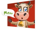 Young Cow Cartoon Vector Character AKA Colleen the Gentle Cow - Shape 3