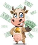 Young Cow Cartoon Vector Character AKA Colleen the Gentle Cow - Shape 7