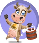Young Cow Cartoon Vector Character AKA Colleen the Gentle Cow - Shape 8