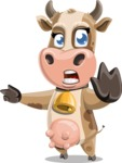 Young Cow Cartoon Vector Character AKA Colleen the Gentle Cow - Direct Attention